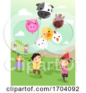 Stickman Kids Farm Balloons Run Illustration