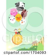 Stickman Kids Farm Animal Air Balloon Illustration
