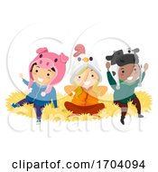 Stickman Kids Farm Animals Bonnet Illustration