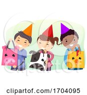 Stickman Kids Farm Animal Bag Treats Illustration