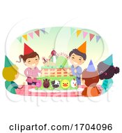 Stickman Kids Farm Birthday Party Illustration