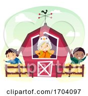 Stickman Kids Farm Barn Illustration