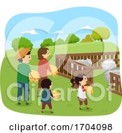 Stickman Kids Feed Sheep Husbandry Illustration