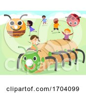 Poster, Art Print Of Stickman Kids Haystack Art Insects Illustration