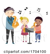 Stickman Kids Teacher Learn Saxophone Illustration