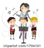 Poster, Art Print Of Stickman Kids Teacher Learn Flute Illustration