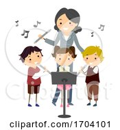 Stickman Kids Teacher Learn Flute Illustration