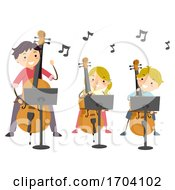 Stickman Kids Teacher Learn Cello Illustration