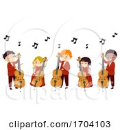 Poster, Art Print Of Stickman Kids Play Cello Illustration