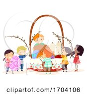 Poster, Art Print Of Stickman Kids Easter Ukraine Basket Illustration