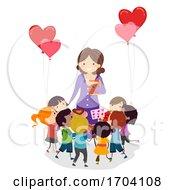 Poster, Art Print Of Stickman Kids Teacher Valentine Gift Illustration