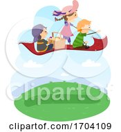 Stickman Kids Picnic Basket Flying Illustration
