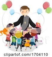 Stickman Kids Priest Birthday Gift Illustration