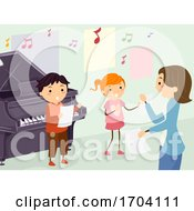 Stickman Kids Teacher Voice Lesson Illustration