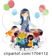 Stickman Kids Nun Give Birthday Gift Illustration