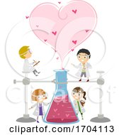 Stickman Kids Science Valentines Illustration