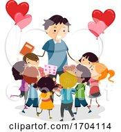 Poster, Art Print Of Stickman Kids Teacher Valentines Gift Illustration