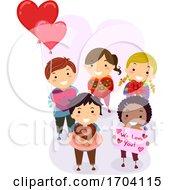 Poster, Art Print Of Stickman Kids Valentines Gifts Illustration