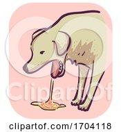 Poster, Art Print Of Dog Symptom Vomit Blood Illustration
