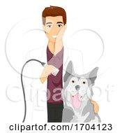 Poster, Art Print Of Man Vet Dog Ultrasound Illustration
