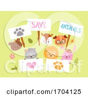 Save Animals Placards Design Illustration