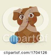 Poster, Art Print Of Brown Dog Sitting Ball Illustration