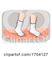 Flea Inspection Carpet White Sock Illustration