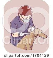 Man Pest Control Pet Flea Inspection Illustration