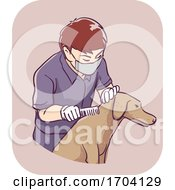 Man Pest Control Pet Flea Inspection Illustration