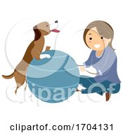 Poster, Art Print Of Stickman Girl Dog Ball Therapy Illustration