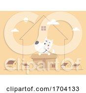 Poster, Art Print Of Dog Cardboard Box Inside House Illustration