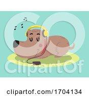 Poster, Art Print Of Dog Love Listening Music Illustration