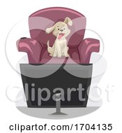 Dog Love Watching Television Illustration