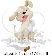 Poster, Art Print Of Dog Play With Tissue Paper Illustration
