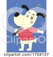 Poster, Art Print Of Dog Mascot Microphone Singing Illustration