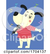 Dog Mascot Microphone Singing Illustration