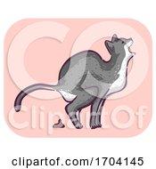 Cat Symptom Meow Pain Defecating Illustration