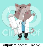 Cat Doc Vet Syringe Illustration