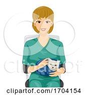 Girl Vet Cat Blanket Illustration