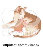 Cat Kitten Breastfeeding Illustration