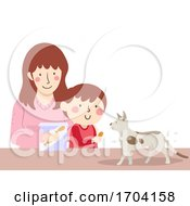 Kid Boy Mom Cat Treat Illustration