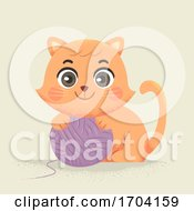 Poster, Art Print Of Cat Yarn Ball Illustration