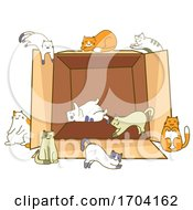 Cats Pose Cardboard Box Illustration