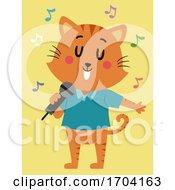 Cat Mascot Microphone Singing Illustration