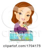 Girl Aquarium Designing Illustration