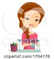 Girl Clean Aquarium Illustration