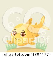 Gold Fish Under Sea Bubbles Illustration