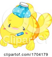 Mascot Fish Sick Illustration