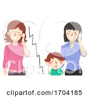 Kid Boy Teacher Call Mom Mobile Illustration