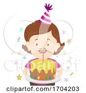 Girl Dwarfism Birthday Cake Party Hat Illustration